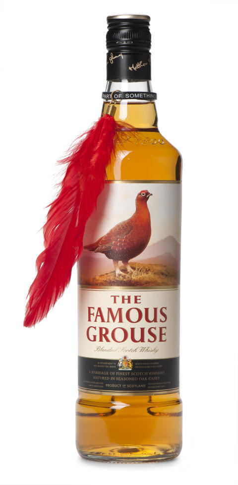 The Famous Grouse flaska med fjäder