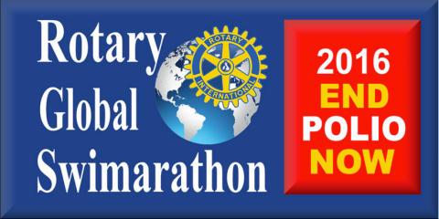 Rotarianer simmar i ett femårsjubilerande event för att utrota polio