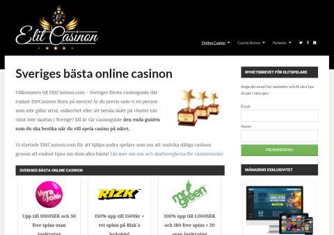 Sverige första casinoguide med bara Elit Casinon på menyn - lanserad!