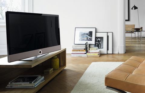 Loewe Connect ID design tv - Beige kabinet med Sort Højglans ramme.