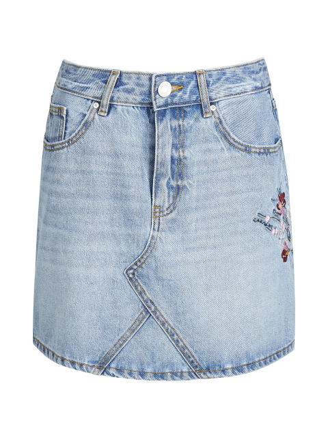 DENIM SKIRT EMBROIDERY