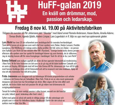 HuFF-galan 2019 - 8 november med Pär Johansson och gästerna Lars Richt, Emma Örtlund, Frida Jonsvens