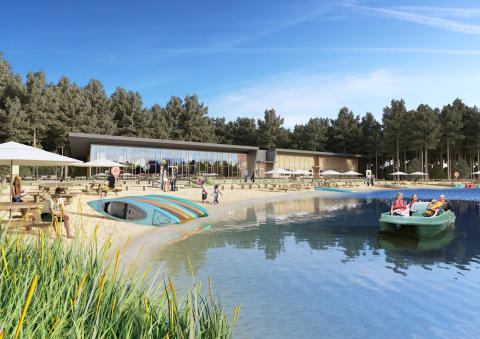 Artist's impression of The Pancake House, Beach Kiosk and lake