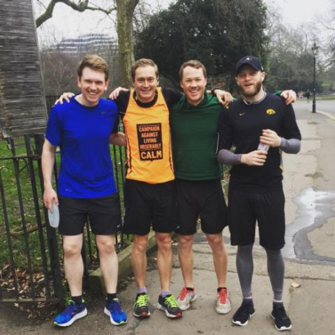 CALM runner Alex Stanley with training friends