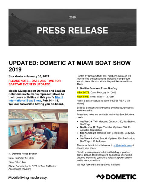 Dometic: Invitation to Dometic Press Brunch (Booth C289) and SeaStar Solutions Press Briefing (Booth 309) at Miami International Boat Show