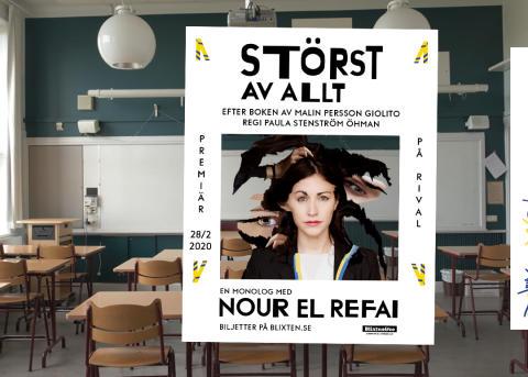 """""""Störst av allt"""" blir teater med Nour El Refai i huvudrollen – från storsuccén av Malin Persson Giolito!"""