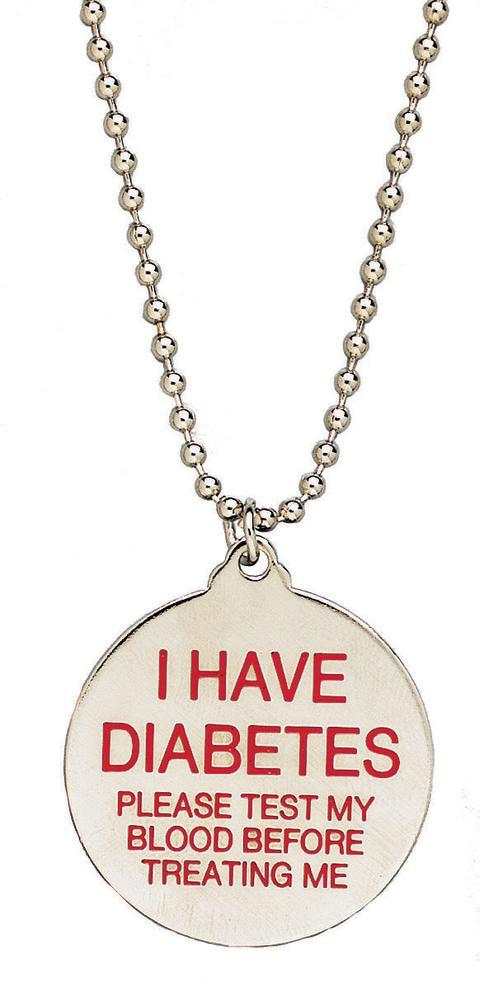 Free diabetes awareness necklace.