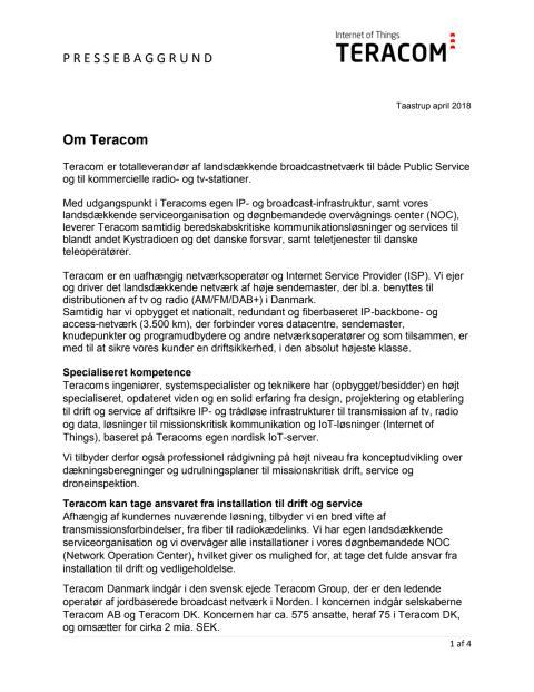 Pressebaggrund - Teracom IoT lancering 17. april 2018