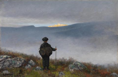 Eventyrrommet. Theodor Kittelsen, «Langt langt borte saa han noget lyse og glitre», 1900