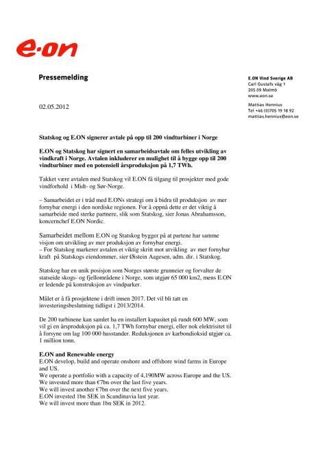 Pressmeddelandet på norska
