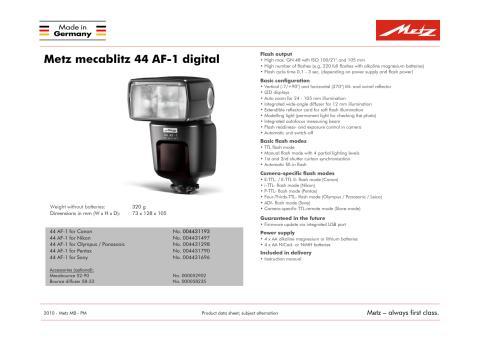 Specifikationer Metz 44 AF-1 (eng)