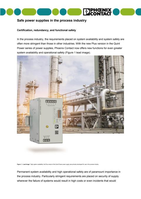 Safe power supplies in the process industry