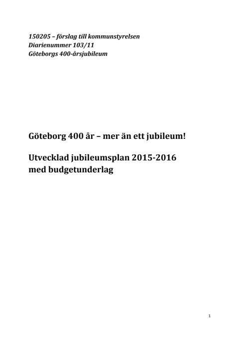 Förslag till utvecklad Jubileumsplan 2021