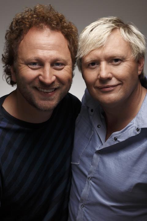 Sören Olsson och Anders Jacobsson skriver Stories för Storytel. Foto: Mikael Ångström