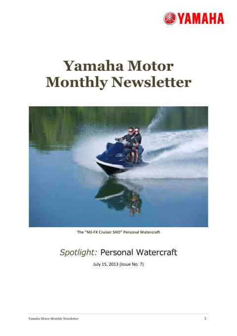 Yamaha Motor Monthly Newsletter No.7(July.2013) Personal Watercraft
