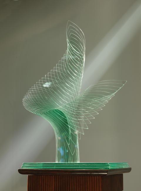Glasskulptur, Niyoko Ikuta, Japan, 1994 hos Bo Knutsson Antik & Konsthandel.