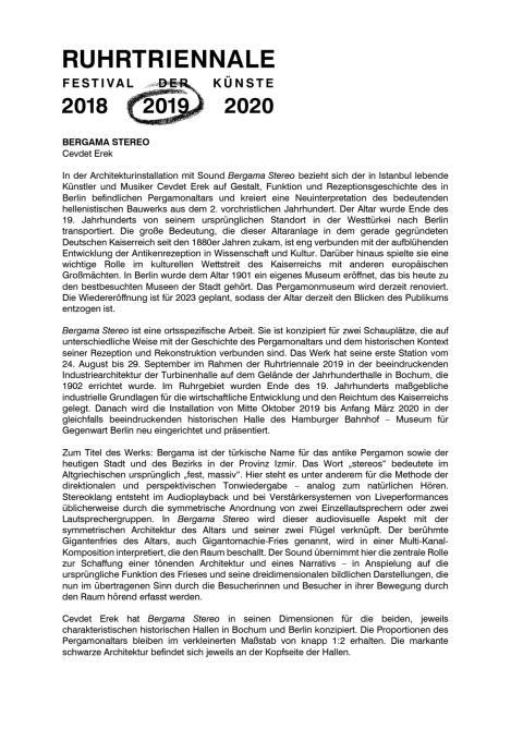 Ruhrtriennale 2019: Bergama Stereo (Presseinformation)