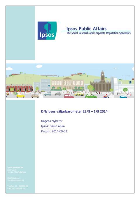 DN/Ipsos väljarbarometer 22/8 - 1/9 - Stödet för Socialdemokraterna lägre än i valet 2010
