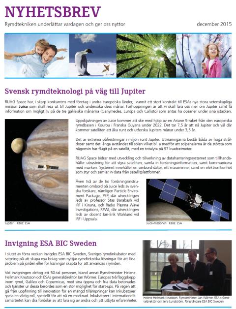 RUAG Space Nyhetsbrev december