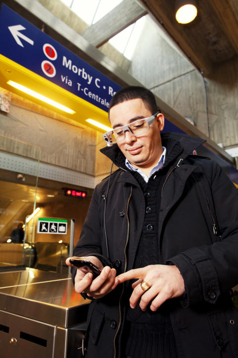 Tobii Glasses mobile eye tracker in use in the subway