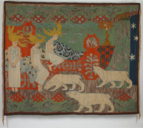 Eventyrlig design. Gerhard Munthe & Nordenfjeldske kunstindustrimusems atelier for kunstvævning, Nordlysdøtre, 1903