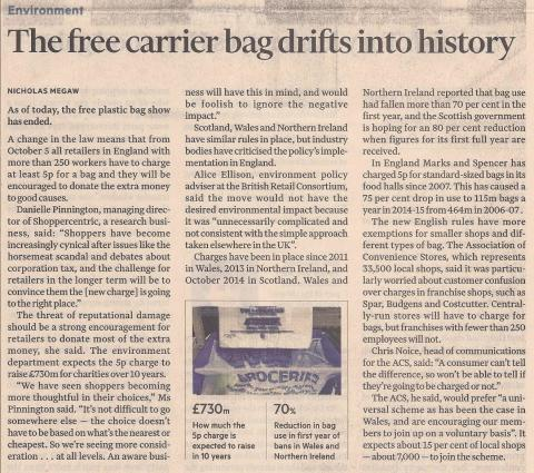 The free carrier bag drifts into history