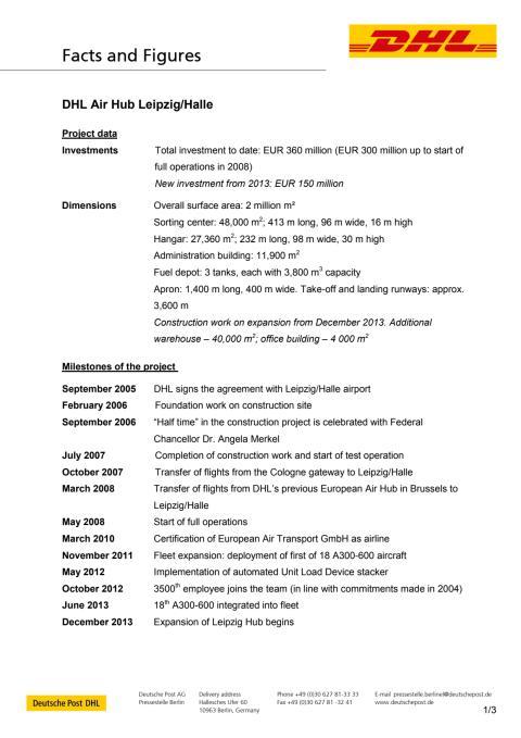 DHL Express expanderar i Leipzig - Fact Sheet