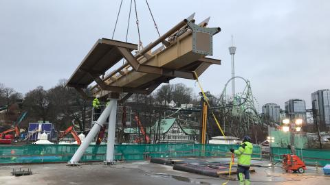 The first section of the new Valkyria dive coaster is now in place!