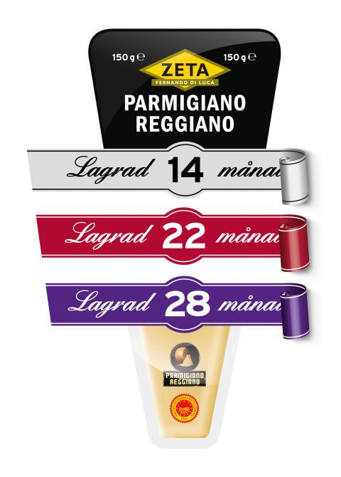 Zeta Parmigiano Reggiano och Grana Padano med olika lagringstider