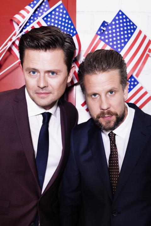 Fredrik Wikingsson och Filip Hammar, I Trumpland med Filip & Fredrik. FOTO: JAKOB DAHLSTRÖM/KANAL 5