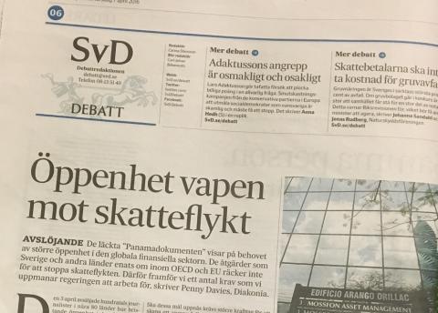 """Diakonia på SvD Debatt: """"Öppenhet viktigt vapen mot skatteflykt"""""""