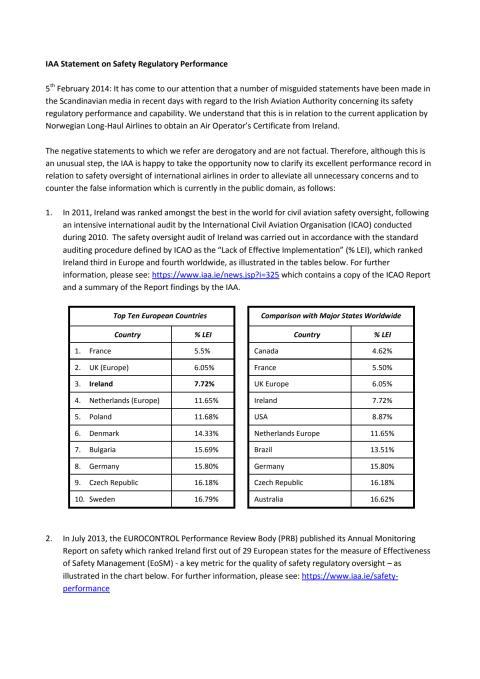 IAA Statement on Safety Regulatory Performance