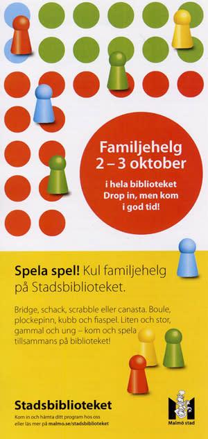 Spela spel! Kul familjehelg på Stadsbiblioteket 2-3 okt