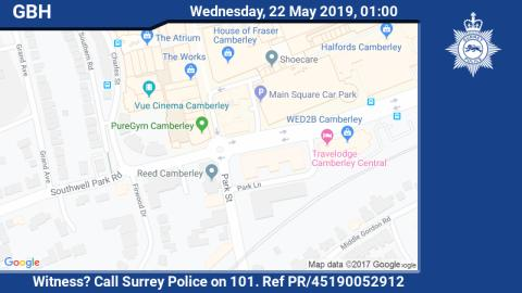 Appeal for witnesses after assault causing grievous bodily harm in Camberley