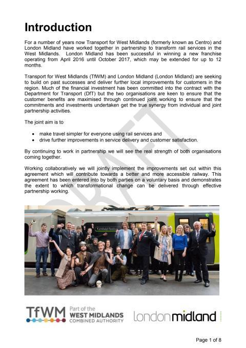 New London Midland & Transport for West Midlands Partnership Agreement