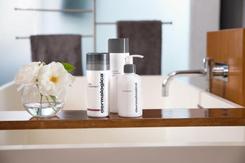 Daily Superfoliant, Special Cleansing Gel and Precleanse on Tub