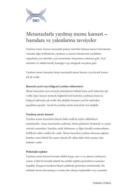 Metastazlarla yayılmış meme kanseri – hastalara ve yakınlarına tavsiyeler - Fakta om spridd bröstcancer på turkiska