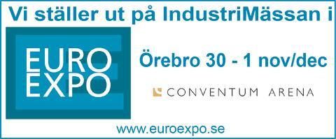 Vi ställer ut på IndustriMässan Euro Expo i Örebro