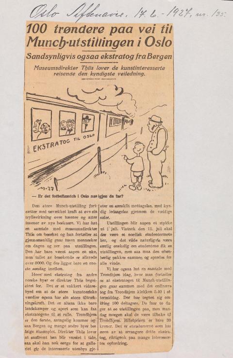 Munch-utstillingen 1927, Oslo Aftenavis 17. juni 1927