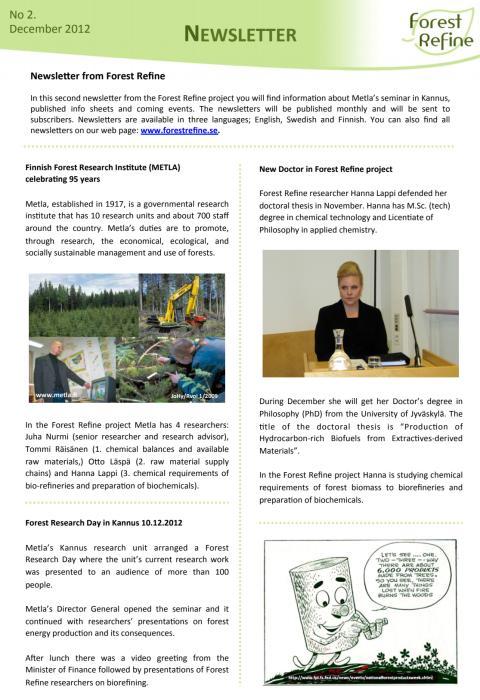 Forest Refine - Newsletter No 2