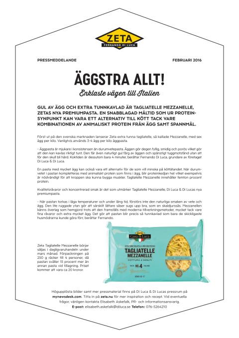Pressmeddelande Zeta Tagliatelle Mezzanelle