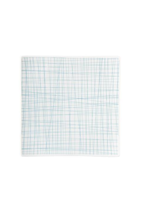 R_Mesh_Line Aqua_Plate 22 cm square flat