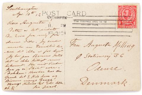 Handwritten and signed postcard from Jacob Christian Milling, passenger on the Titanic. Estimate:  DKK 30,000-50,000 (€ 4,000-6,700).