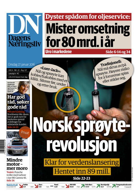 "Luer-Jack featured on Front Page of the Major Norwegian Business Newspaper ""Dagens Næringsliv"""