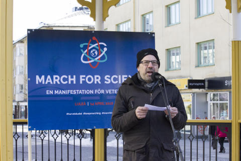 Karl Andersson - en av talarna under March for Science i Luleå
