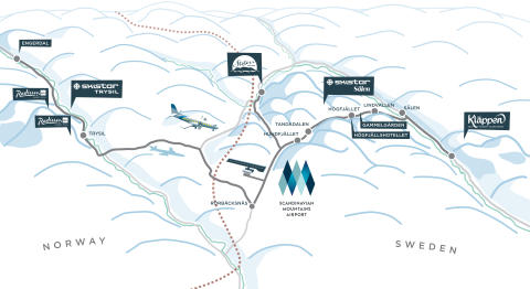 Översiktkarta Scandinavian Mountains Airport