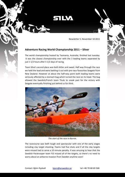 Team Silvas sammanfattning av Adventure Racing World Championships 2011