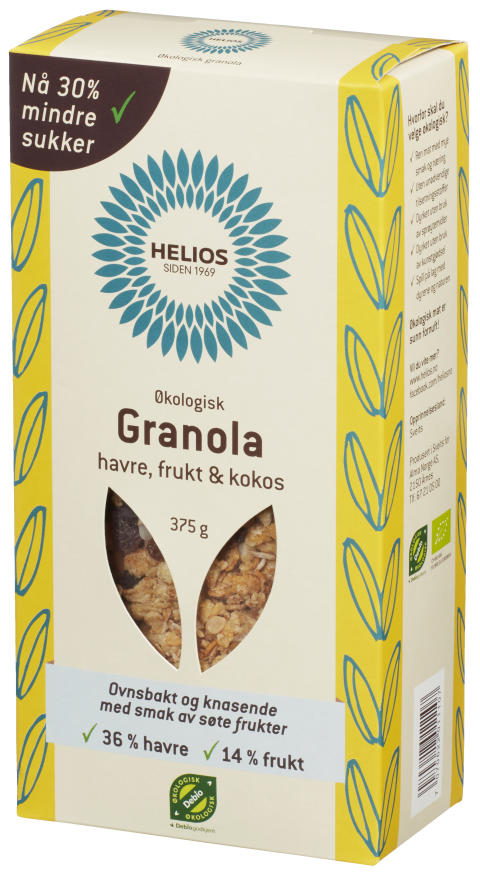 Helios granola havre frukt kokos økologisk 375 g