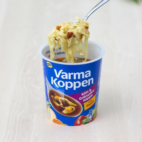Varma Koppen med pasta, Kött och Grönsakssoppa