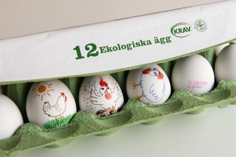 Färre KRAV-märkta ägg på påskbordet